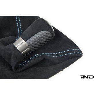IND Carbon Schaltknauf inklusive Schaltsack mit gefärbten Nähten Polar Blau matt carbon für BMW F87 M2 und M2 Competition