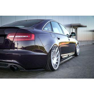 Maxton Design ABS Diffusor Seiten Eerwiterungen Flaps für Audi A6 C6 S6 RS6 S-Line Limo Carbon Look