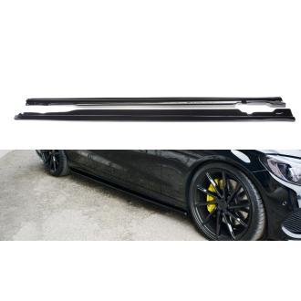 Maxton Design ABS Seitenschweller für Mercedes Benz C-Klasse W205 AMG AMG Paket schwarz matt
