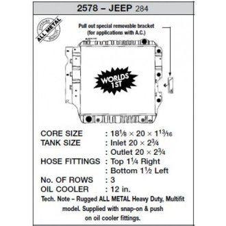 CSF Wärmetauscher Wasserkühler für Jeep Wrangler 1987-2004